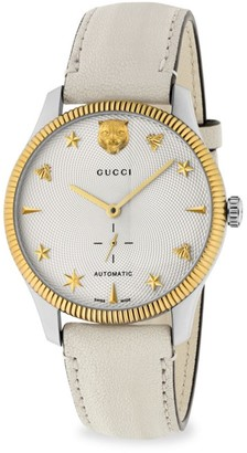 Gucci G-Timeless Stainless Steel Case 40MM Automatic Silver Guilloche Dial Creme Leather Watch