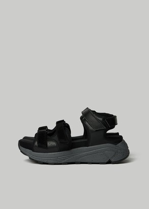 Y's by Yohji Yamamoto Women's Thick Soled Velcro And Leather Sandal in Black Size 2