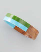 Chamak by Priya Kakkar Colorblock Wood and Resin Bangle, Green/Blue