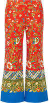 Tory Burch Dayton Cropped Printed Cotton-blend Straight-leg Pants - Tomato red