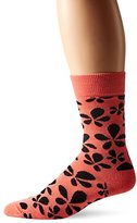 Happy Socks Men's 1pk Unisex Combed Cotton Crew-Pink Flower