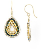 Miguel Ases Mini Beaded Oval Drop Earrings