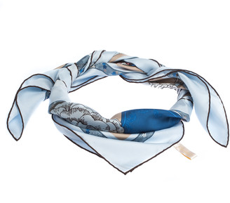 Cartier Pale Blue Printed Silk Square Scarf