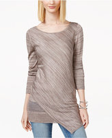 INC International Concepts Petite Asymmetrical Metallic Sweater, Only at Macy's