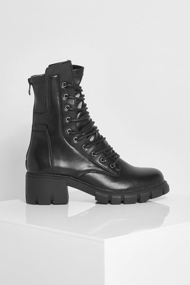 boohoo Split Sole Lace Up Hiker Boot