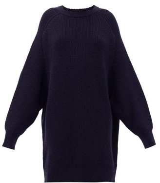 Raey Oversized Crew-neck Ribbed-wool Sweater - Womens - Navy