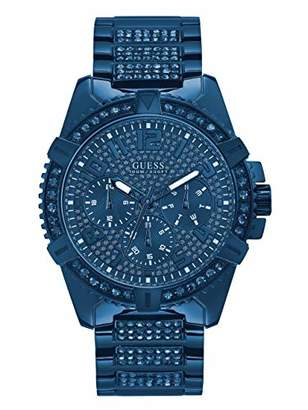 GUESS Stainless Steel Iconic Crystal Embellished Bracelet Watch with Day