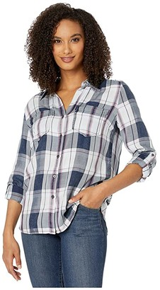 KUT from the Kloth Hannah Button Down Top (Navy/Rose) Women's Long Sleeve Button Up