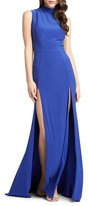 Mac Duggal Double Slit High-Neck Gown