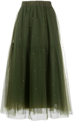 P.A.R.O.S.H. Crystal-Embellished Tulle Midi Skirt