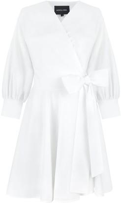 MONICA Nera Sophie White Wrap Dress