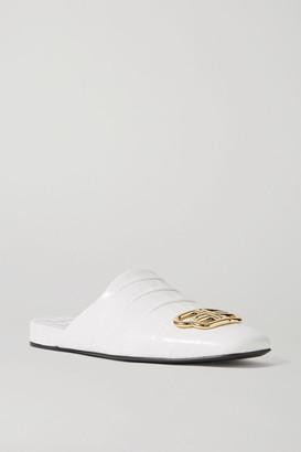 Balenciaga Cosy Bb Logo-embellished Croc-effect Leather Slippers - White