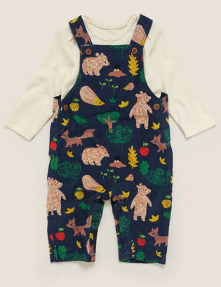 Marks and Spencer 2 Piece Pure Cotton Cord Animal Outfit (0-3 Yrs)