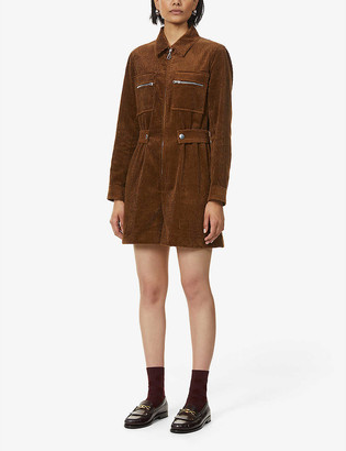 Sandro Judd zipped-front corduroy playsuit