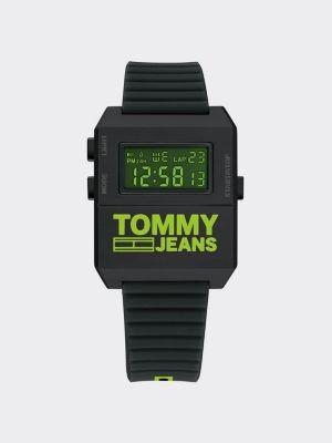 Tommy Hilfiger Digital Neon Green Silicone Strap Watch