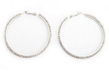 Charlotte Russe Rhinestone Rim Hoop Earrings
