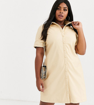 Glamorous Curve shirt dress in soft faux leather-Tan