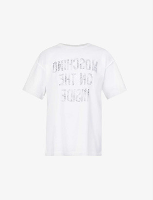 Moschino Brand-print oversized cotton-jersey T-shirt