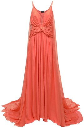 Dundas Deep Slit & V Neck Chiffon Long Dress
