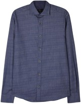 Corneliani Navy Textured Cotton Shirt