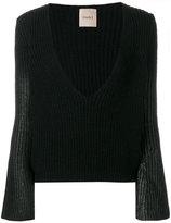 Nude ribbed knit plunge jumper