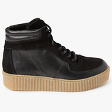 Pieces Paloma High Leather Trainers, Black