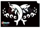 Glimmer Body Art Glitter Tattoo Stencils - Dolphin 3 (5/pack)