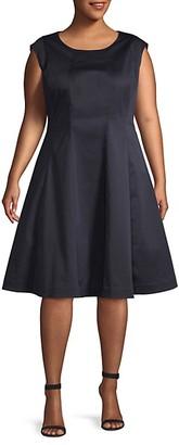 Lafayette 148 New York Plus Sleeveless Fit--Flare Dress