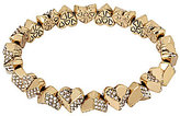 Betsey Johnson Geometric Pave Heart Stretch Bracelet