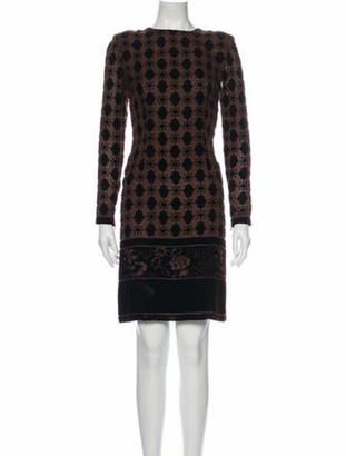 Oscar de la Renta Printed Knee-Length Dress Brown