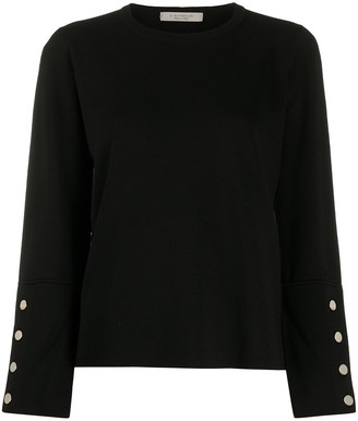 D-Exterior Button-Embellished Wool Jumper