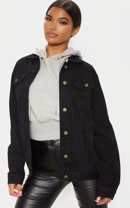 PrettyLittleThing Black Oversized Denim Jacket