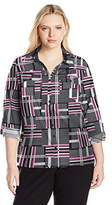 Notations Women's Plus Size Long Rolled to 3/4 Sleeve Printed Y Neck Utility Blouse