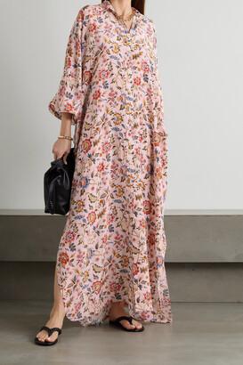 Lanvin - Floral-print Crepe De Chine Maxi Dress - Pink