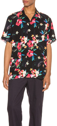 Engineered Garments Camp Shirt in Black Tropical Floral Print Rayon | FWRD