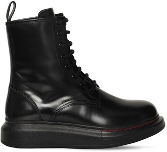 Alexander McQueen 40mm Hybrid Leather Combat Boots