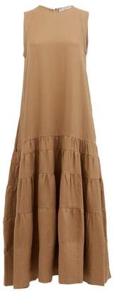 Three Graces London Abigail Tiered Linen Maxi Dress - Brown