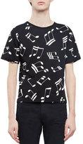 Saint Laurent Musical-Note Short-Sleeve T-Shirt, Black/Ivory