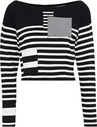 Altuzarra Cousteau Cropped Patchwork Striped Stretch-knit Sweater