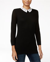 Maison Jules Embellished Collar Sweater, Only at Macy's