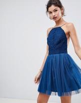 Asos Design DESIGN lace top tulle mini dress