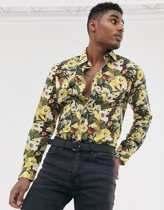 Devils Advocate slim fit floral long sleeve shirt-Brown
