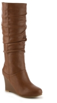 Journee Collection Hana Wide Calf Wedge Boot
