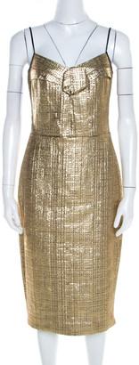 DKNY Metallic Gold Jacquard Basketweave Pleated Bodice Sleeveless Cocktail Dress M
