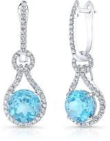 Ice 5 5/8 CT TW Swiss Blue Topaz and Diamond 14K White Gold Halo Earrings