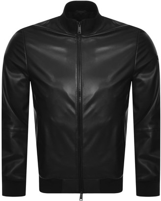 Giorgio Armani Emporio Leather Bomber Jacket Black