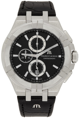 Maurice Lacroix Silver and Black AIKON Chronograph 44mm Watch