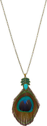 Frankie & Stein Women's Necklaces - Green & Goldtone Natural Peacock Feather Pendant Necklace
