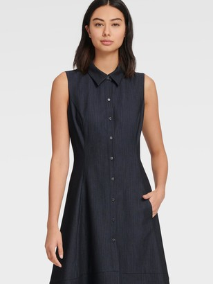 DKNY Women's Sleeveless Denim Shirt Dress - Indigo - Size 8