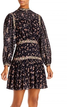 Rebecca Taylor La Vie Mixed Print Dress